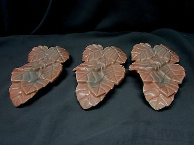 3 1950's Pottery Leaf Wall Pockets, Nice USA MADE, Off Pink Color Great 4 Decor