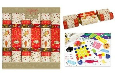 "12 Luxury 14"" Christmas Crackers Traditional Robin Design XM2872"