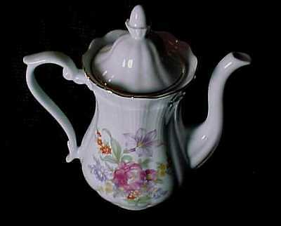 Porcelain Coffee Pot Floral Design,Southington By Baum Floral Garden Made Poland