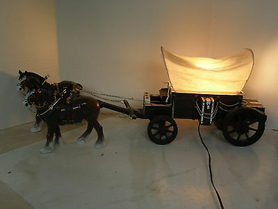 Vintage  2 Clydesdale Horse Drawn Covered Carriage Lamp-Unique And Detailed!!