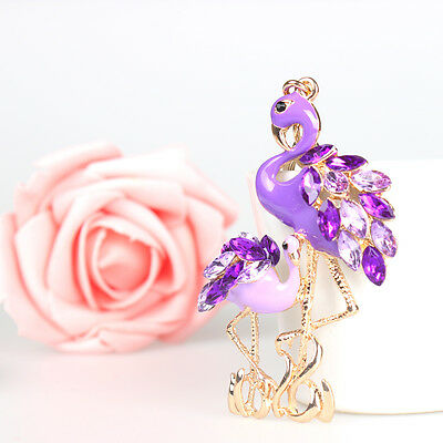 Flamingo Grus Japonensis Lovely Pendant Charm Crystal Purse Bag Key Ring Chain