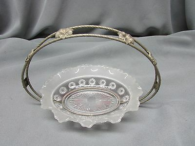 Vintage Frosted glass & Silver plated? Bon Bon Basket, Made in England, Nice.