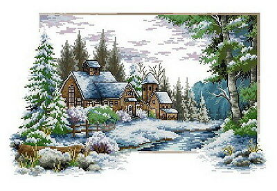 14 count aida needlepoint cross stitch landscape kit with colorful chart J070