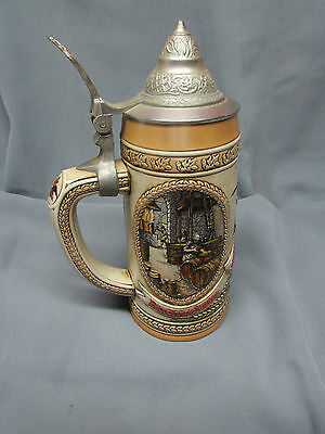 "Budweiser ""B"" Series Lidded Stein- Brewing and Fermentation Scenes, Nice!"