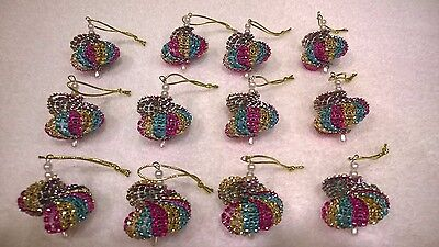 12 HANDMADE CHRISTMAS ORNAMENTS MADE WITH BLING GOLD  HOT PINK AND TEAL