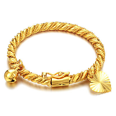 Children's Jewelry 18K Gold Plated Bell Twisted Bracelet Bangle for Kids Baby
