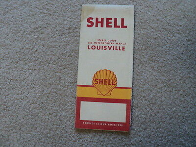 Vintage 1950's Shell Road Map City of Louisville Kentucky Indiana