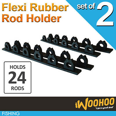 Two Sets of Rubber Fishing Rod Holder  Hold up to 24 fishing rods against a wall