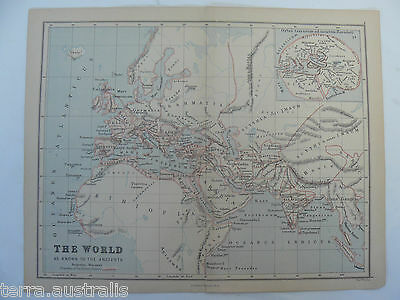 The World As Known to the Ancients - 1885 Antique Map - Weller Butler Longmans