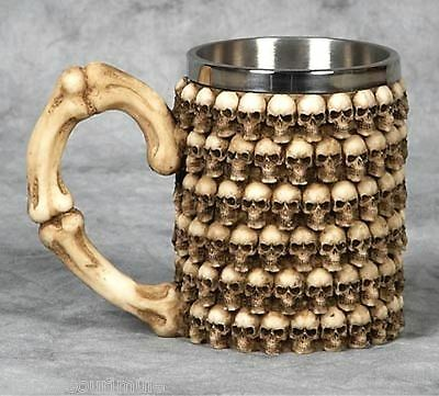 NEW~Macabre 3-D Stacked Skulls & Bones Tankard Mug Cup Coffee Beer Pirate Gothic