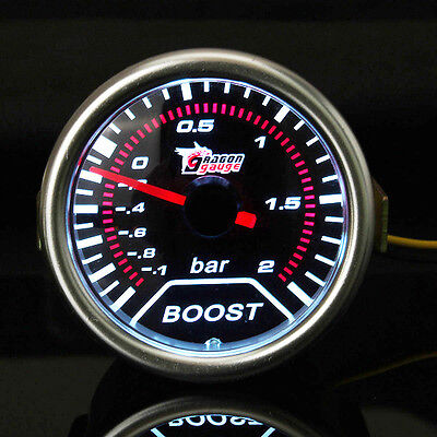 "2"" 52mm Motor Car -1 to 2 Bar Boost Gauge Smoke Lens Indicator White Auto Meter"