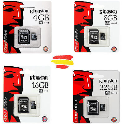 Tarjeta Memoria Kingston Microsd Micro Sd 4 8 16 32 64 4Gb 8Gb 16Gb 32Gb 64Gb Gb