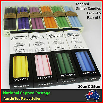 Tapered Candles Taper Dinner Candle Bulk Coloured Unscented Wicca Pagan 6/8 Pack