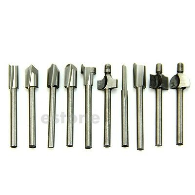 "10pcs HSS Router Bits Wood Cutter Milling Fits Rotary Tool Set 1/8"" 3mm"