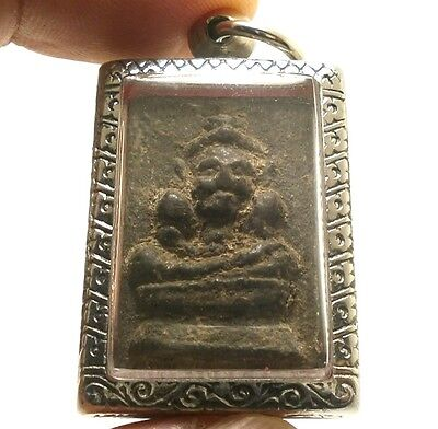 Thai Powerful Magic Amulet Pendant Lp Boon Hermit Lersi Blessing Cross Obstacle