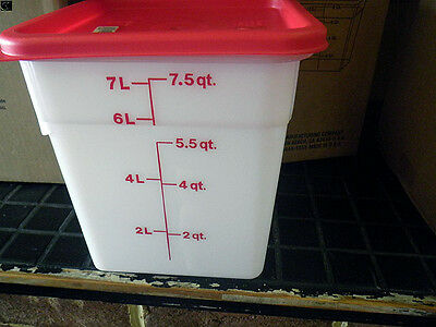 Food Storage Cambro Cam Squares White With Red Lids, 8 Qt, New
