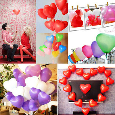 200pcs Colorful Heart Shaped Latex Balloons Wedding Birthday Party Decoration