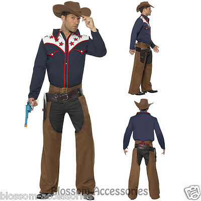 CL436 Rodeo Cowboy Western Wild West Shirt Hat Chaps Fancy Dress Up Mens Costume