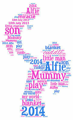 Family Son /& Baby Personalised Word Art print Mummy Daddy