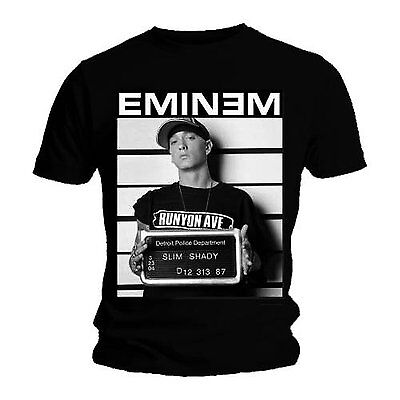 Official T Shirt Eminem Black Arrest Photo Marshall Mathers Mens Small NEW