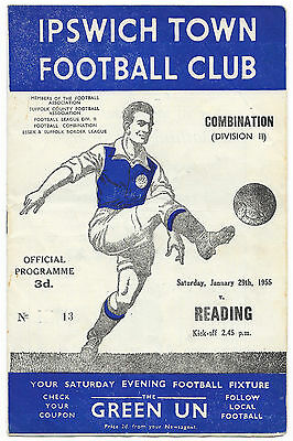 Ipswich Town Reserves v Reading Reserves ,1954/55 -  Combination Programme