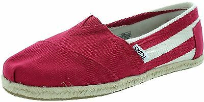 Toms Classic University Red White Stripes Womens Canvas Espadrille Shoes Slipons