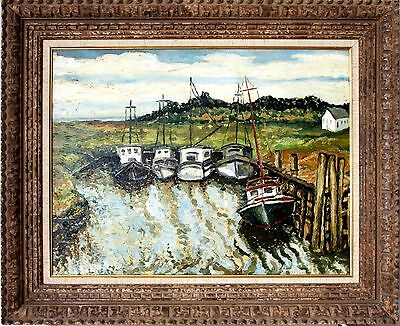 Impressionistic 20th Century Oil Painting of Boats at the Harbor by Oskar Koller