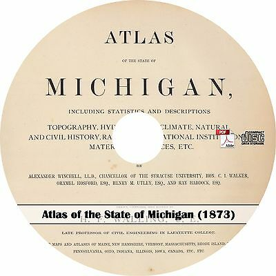 1873 Atlas of the State of Michigan - Maps Book on CD