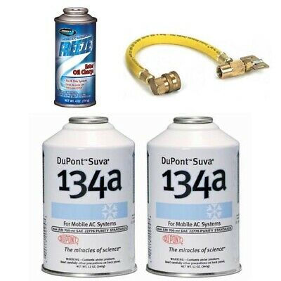 2x DuPont Suva R-134a 1x Johnsen's Ester Oil Charge AC Recharge Kit w/ Hose