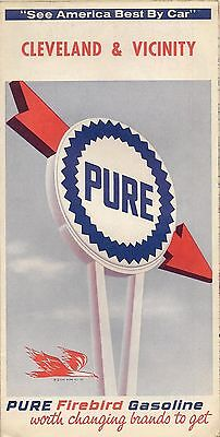 1965 PURE OIL Firebird Road Map CLEVELAND SHAKER HEIGHTS Ohio Lakewood Euclid
