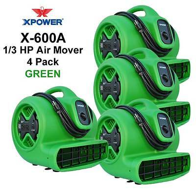 XPOWER X-600A 1/3 HP Air Mover Carpet Dryer Fan w/ GCFI Outlets 4 Pack- Green