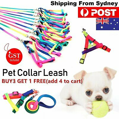 1x Adjustable Pet Collar Leash Colourful Small Pets Dog Puppy Harness Walking Ro