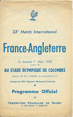 1958 - France v England, Rugby Union Five Nations Programme.