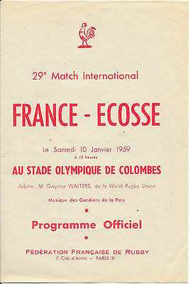1959 - France v Scotland, Rugby Union Five Nations Programme.