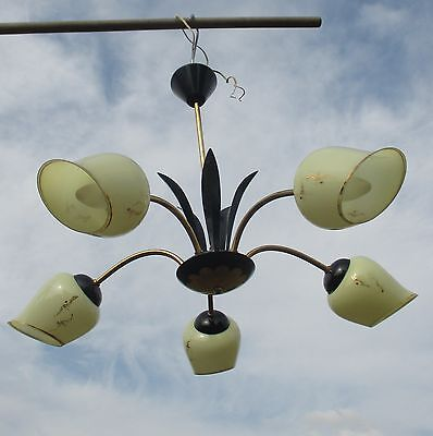5 Arm Mid Century Chandelier Black Leaves Shades Gold Gild era stilnovo