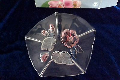 "Vintage MIKASA WALTHER-GLAS glass bowl EVITA pink floral Germany 8"" box quality"