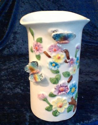 vintage butterfly floral vase ceramic Taiwan bright flowers butterflies pretty