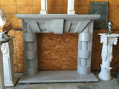 Beautiful Hand Carved Granite Estate Art Deco Polished Fireplace Mantel  - Jd17