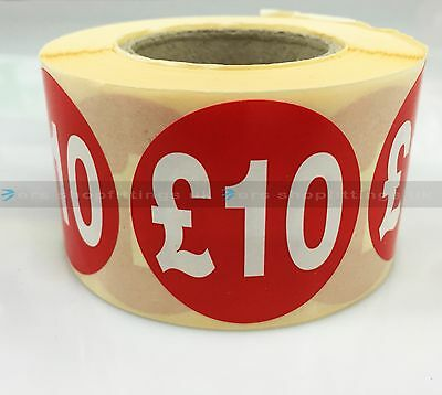 500x £10 RED PRICE SELF ADHESIVE STICKERS STICKY LABELS TAG LABELS FOR RETAIL