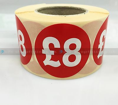 500x £8 RED PRICE SELF ADHESIVE STICKERS STICKY LABELS TAG LABELS FOR RETAIL