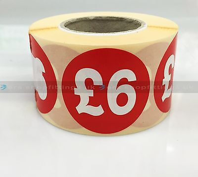 500x £6 RED PRICE SELF ADHESIVE STICKERS STICKY LABELS TAG LABELS FOR RETAIL