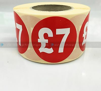 500x £7 RED PRICE SELF ADHESIVE STICKERS STICKY LABELS TAG LABELS FOR RETAIL