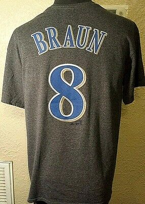 NEW Majestic MLB Milwaukee Brewers #8 Ryan Braun Gray Jersey T-Shirt Mens Large