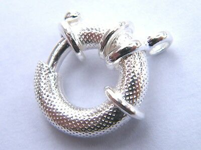 Sterling Silver Jumbo Bolt Ring Clasp 16mm Textured Finish~ Spring Ring .925
