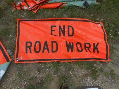 """Nos Eastern Vinyl Roll-Up Street Safety Sign *end Road Work* 24"""" X 47"""""""