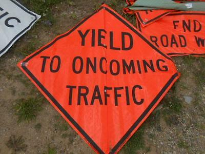 Eastern Vinyl Roll-Up Street Safety Sign *yield To Oncoming Traffic* 47X47