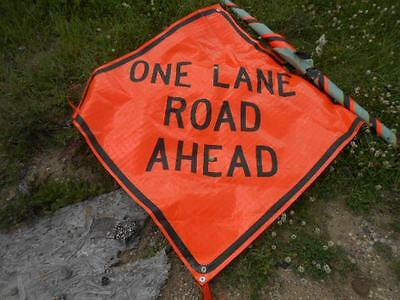 """Eastern Vinyl Roll-Up Street Safety Sign *one Lane Road Ahead* 47"""" X 47"""""""