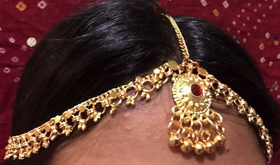 Ethnic gold maang tikka head piece hair matha patti Belly dance jewelry indian