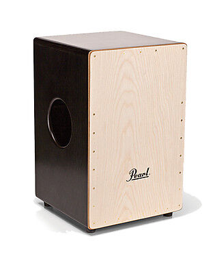 Pearl 2-sided Wood Cajon, w/ snares - Sheer Black