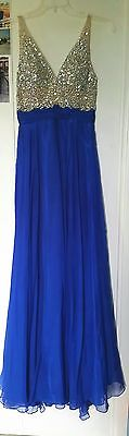 Long Blue Chiffon Bridesmaid Formal Gown Ball Party Cocktail Evening Prom Dress
